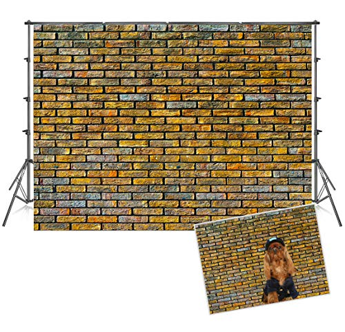 (7x5 ft Graffiti Yellow Brick Wall Microfiber Backdrops for Photography Baby Show Photography Prop Background Photo Backdrop Fabric)