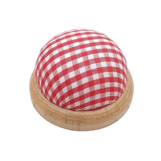 Cojín redondo con base de madera para agujas, organizador de ...