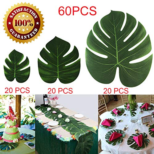 60Pcs Artificial Palm Leaves Tropical Faux Monstera Leaves Safari Hawaiian Luau Jungle Beach Theme BBQ Birthday Party Leaves Table Decorations (20 Small+20 Medium+20 Large) -