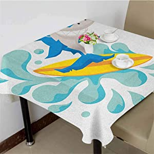3D Printed Tablecloth Funny Shark Surfing in The Ocean Athletic Fish Graphic Art,70x70 inch Dinning Square Tablecloth