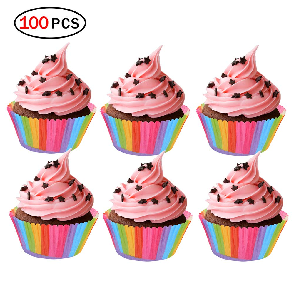 Ouken Shot-In 100pcs Muffin Cupcake Wrapper Paper Cases Liners Cups