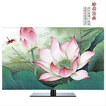 XYDS Cubierta de TV 19 pulgadas-80 pulgadas 22 pulgadas 75 pulgadas pantalla LCD Tv cubierta decorativa cubierta cortina pintura lirio flor pista pájaro impermeable verde azul: Amazon.es: Electrónica
