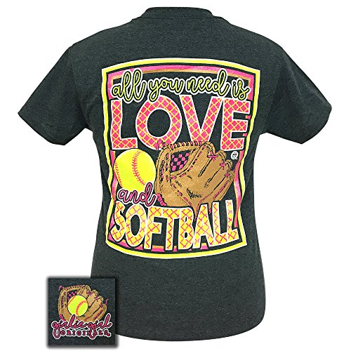 Girlie Girls All You Need is Love and Softball Short Sleeve T-Shirt (Large) (T-shirt Designs Softball)