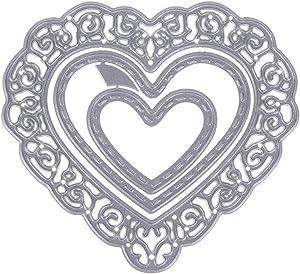 3Pcs Love Heart Shape Metal Cutting Die, Hollow Lace Frame Carbon Steel Cutting Dies Stencil DIY Scrapbooking Paper Card Embossing Die Template
