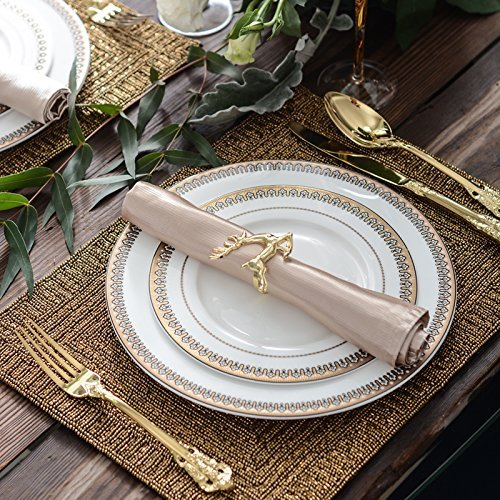 Holiday Napkin Rings Set Holders for Christmas Dinners & Parties, Everyday Home Table Decoration Accessory, Adornment for Wedding, Holiday, Stainless Steel (Gold, 6)