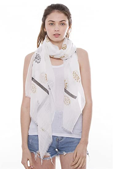 3e7965ffba020 Floral and Stripe Print Oblong Scarf - Black at Amazon Women's Clothing  store: