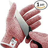 NoCry Cut Resistant Gloves - High Performance Level 5 Protection, Food Grade. Red, Size Medium