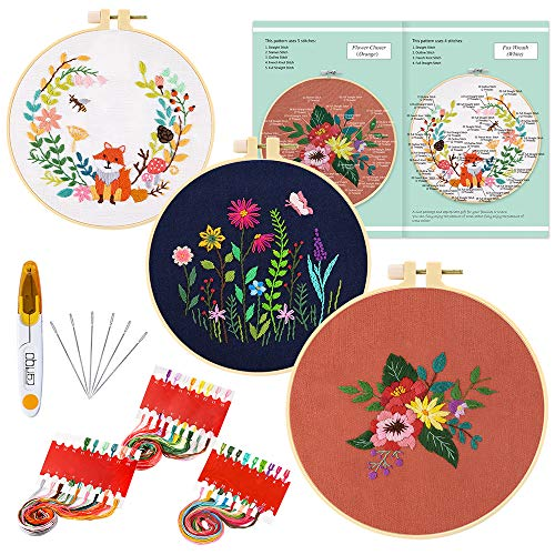 Caydo 3 Sets Embroidery Starter Kit with Pattern, Cross Stitch Kit Include 3 Embroidery Clothes with Floral Pattern, 3 Plastic Embroidery Hoops, Color Threads and Tools and Instructions