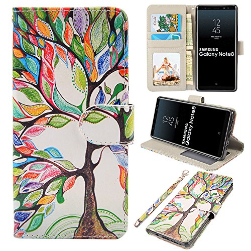 UrSpeedtekLive Galaxy Note 8 Case, Galaxy Note8 Wallet Case, Premium PU Leather Wristlet Flip Case Cover with Card Slots & Stand for Samsung Galaxy Note8, Love Tree