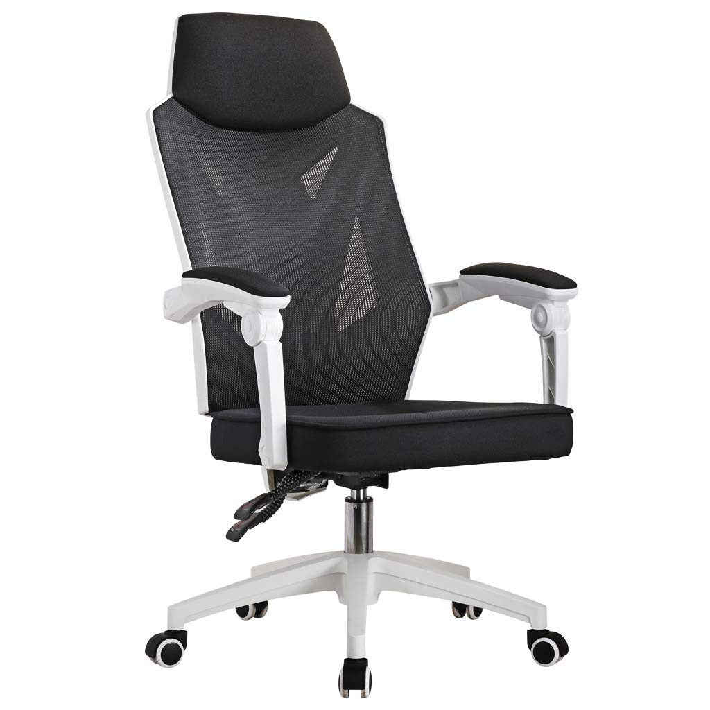 Bürostuhl Schreibtischstuhl Drehstuhl Schwarz-Weiss, Gaming Stuhl Mesh Netz, JLB016-SW