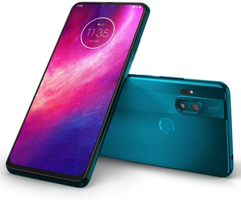 "Motorola One Hyper 128GB + 4GB RAM, XT202-1, 6.5"" FHD+, 64 MP Photos, LTE Factory Unlocked Smartphone - International Version (Blue Iceberg)"