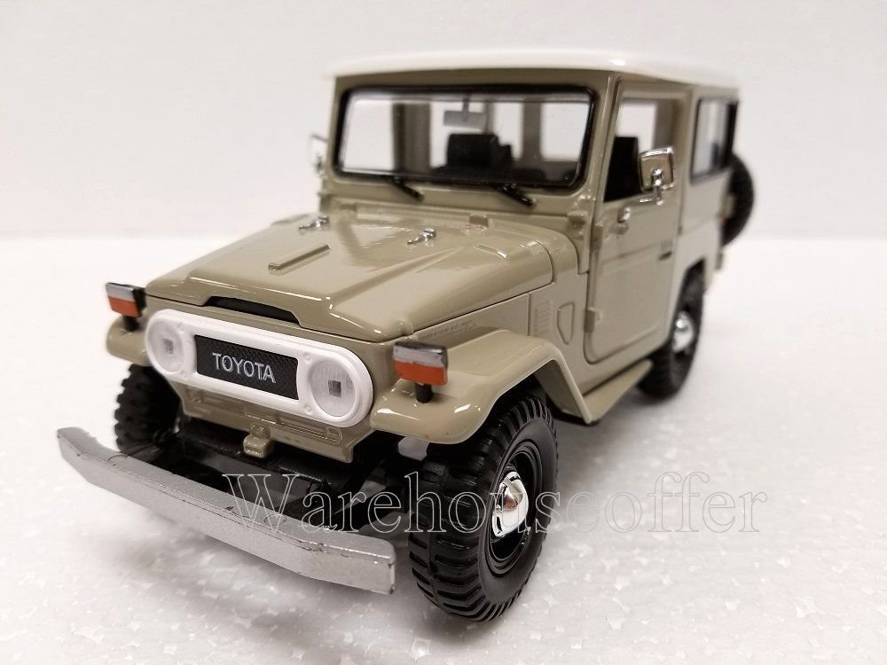 NEW 1 24 DISPLAY MOTOR MAX AMERICAN CLASSICS BEIGE TOYOTA FJ40 Diecast Model Car By Motor Max