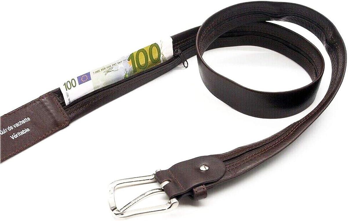 /à fermeture /éclaire L0056 haute qualit/é toute en cuir vachette HOMME zip longue 105cm et 115cm LIVAN ceinture cache billet de voyage secret