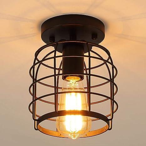Vintage Industrial lámpara de techo de interior, luces de techo Metal Negro Jaula de Hierro Forma E27 base, para pasillo,porche, dormitorio, etc