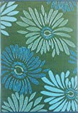 Mad Mats Daisy 4 By 6-Feet Aqua Green - Eco Friendly Indoor/Outdoor Patio Rug