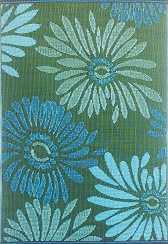 (Mad Mats Daisy 4 by 6-Feet Aqua Green - Eco Friendly Indoor/Outdoor Patio Rug)