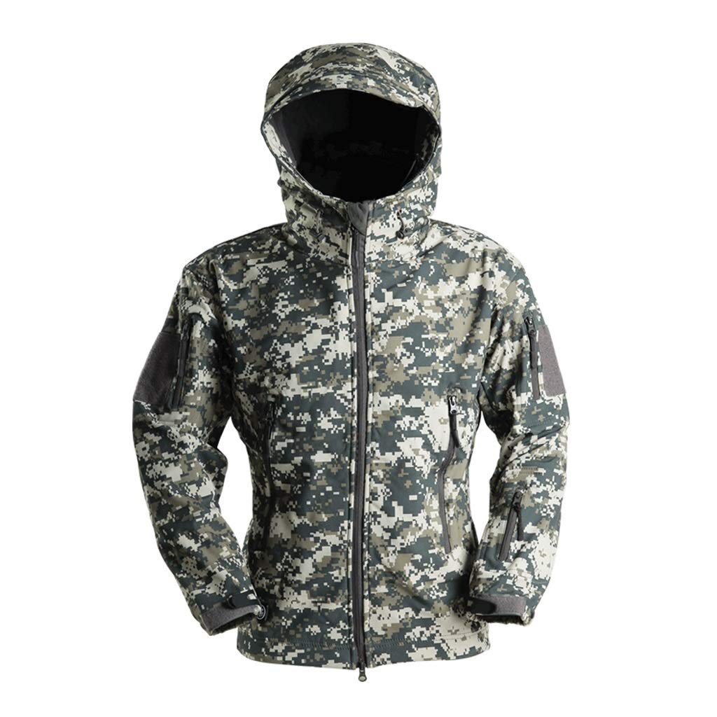 ACU迷彩ジャケット、狩猟服パーカー防風防水戦術的なユニフォームトレーニングサービス戦争ゲーム軍ミリタリーペイントエアガン射撃ジャングル隠しスポーツ (サイズ さいず : Xxxl(195)) Xxxl(195)  B07PCTBPNQ