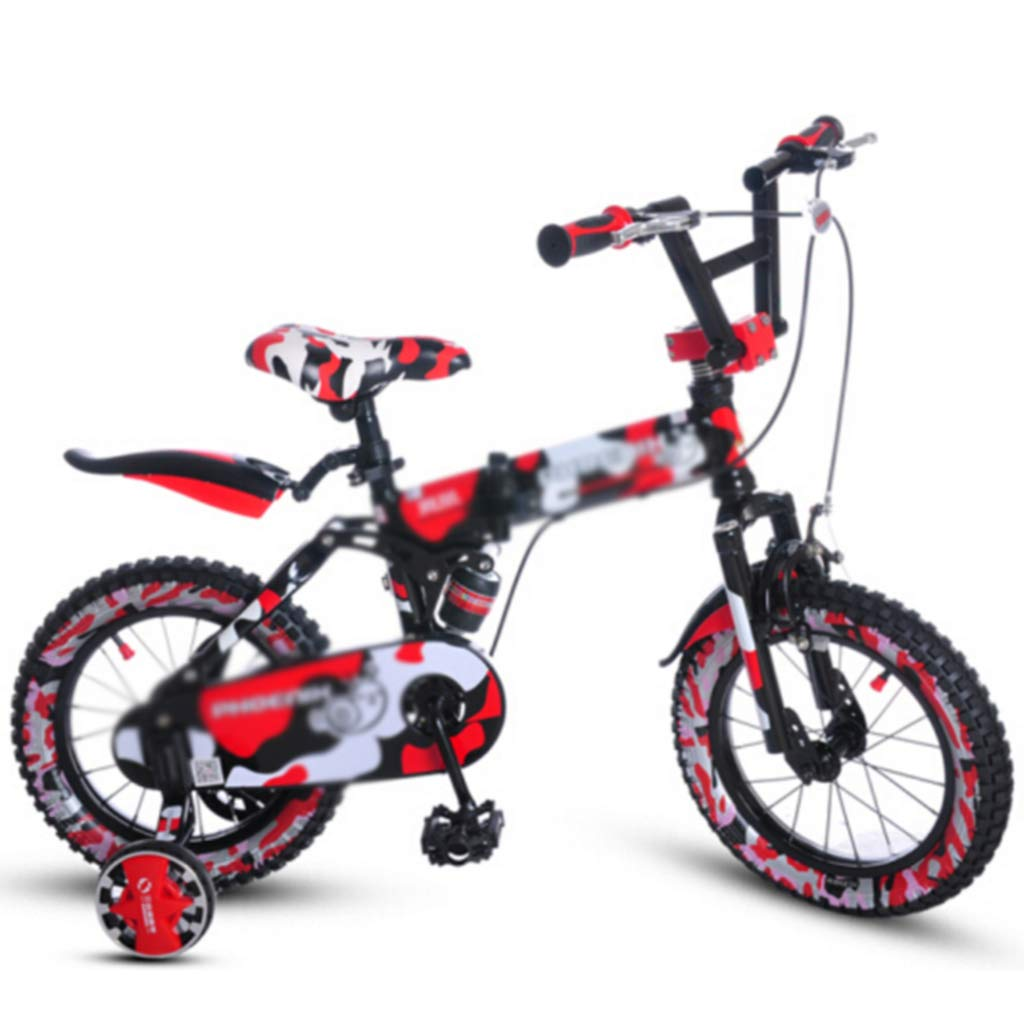 rojo Bicicletas Infantiles y Accesorios Estudiante niño niña 14 16 , Marco de Acero de Alto Carbono con Rueda Auxiliar (Color   azul, Talla   14inches) 14inches