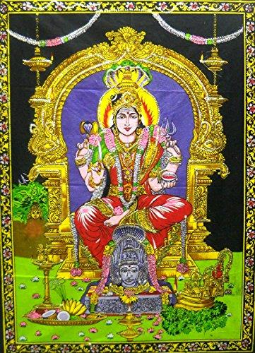 - India Crafts Goddess Mariamman/Hindu Batik Cotton Wall Tapestry 40