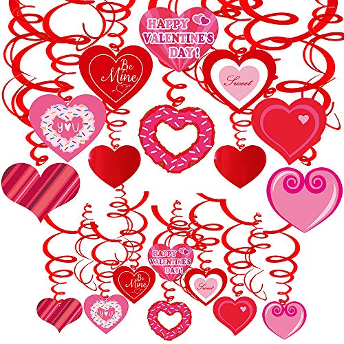 40 Pcs Valentine's Day Hanging Swirl Decorations Party Swirls Heart Swirl Hanging Steamers Foil Hanging Ceiling Décor Swirl Streamers with Heart Cutouts for Valentine's Day Party Supplies Photo Booth -