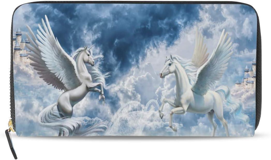 Ahomy - Cartera de Piel para Mujer, diseño de Caballos de ángel, con Unicornio, con Bolsillo con Cremallera