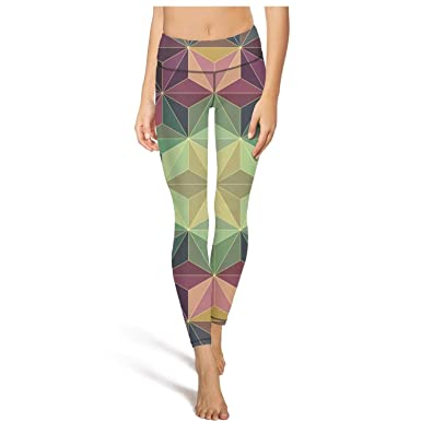 aa9b520b4a Amazon.com: PLOKINC Flare Yoga Pants for Womens Workout Leggings Triangle  Star Art Pockets and Tummy Control Tights for Girls: Clothing
