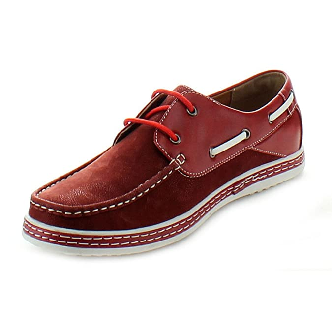 Fourever Funky Men's Vegan Leatherette Two Tone Lace Up Moccasin Boat Shoes  12 Red: Amazon.co.uk: Clothing