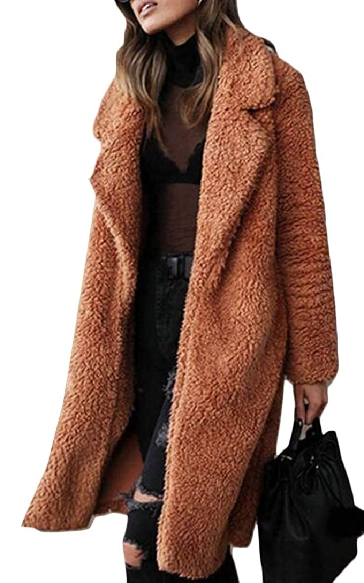 Women's Lapel Fleece Fuzzy Faux Shearling Coats Warm Winter Outwear