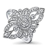 BERRICLE Rhodium Plated Silver Cubic Zirconia CZ Art Deco Fashion Cocktail Statement Ring Size 7