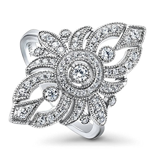 BERRICLE Rhodium Plated Sterling Silver Cubic Zirconia CZ Statement Art Deco Milgrain Navette Cocktail Fashion Right Hand Ring Size 6