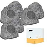 Theater Solutions 6R8G Outdoor Granite 8'' Rock 6 Speaker Set with Wire for Yard Pool Spa Patio Garden