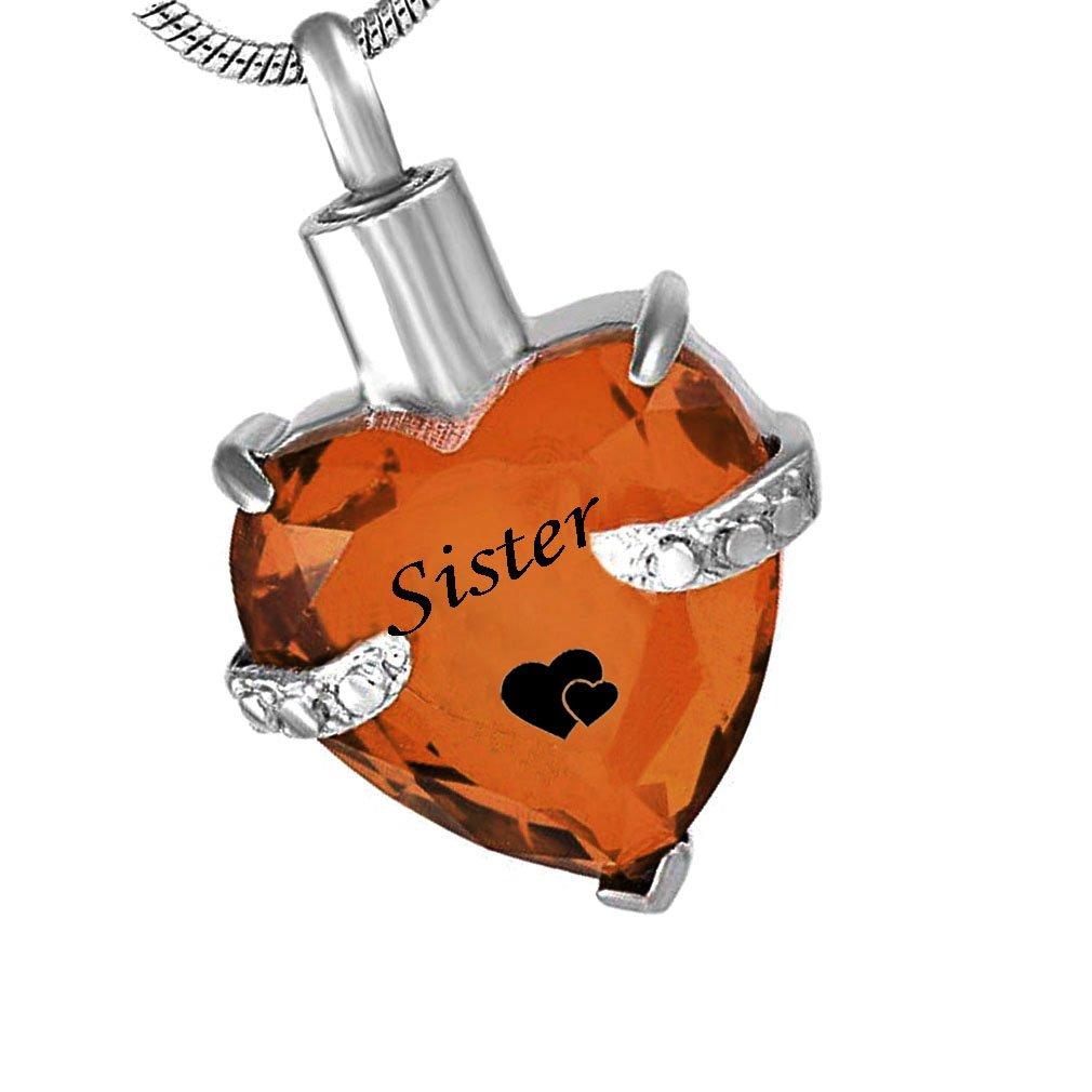 Glass Cremation Jewelry Sister Birthstone Pendant Urn Necklace Ashes Holder Keepsake (November)
