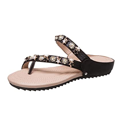 43f2f419f7e Amazon.com : SUKEQ Women's Summer Thong Flat Slide Sandals Spark ...