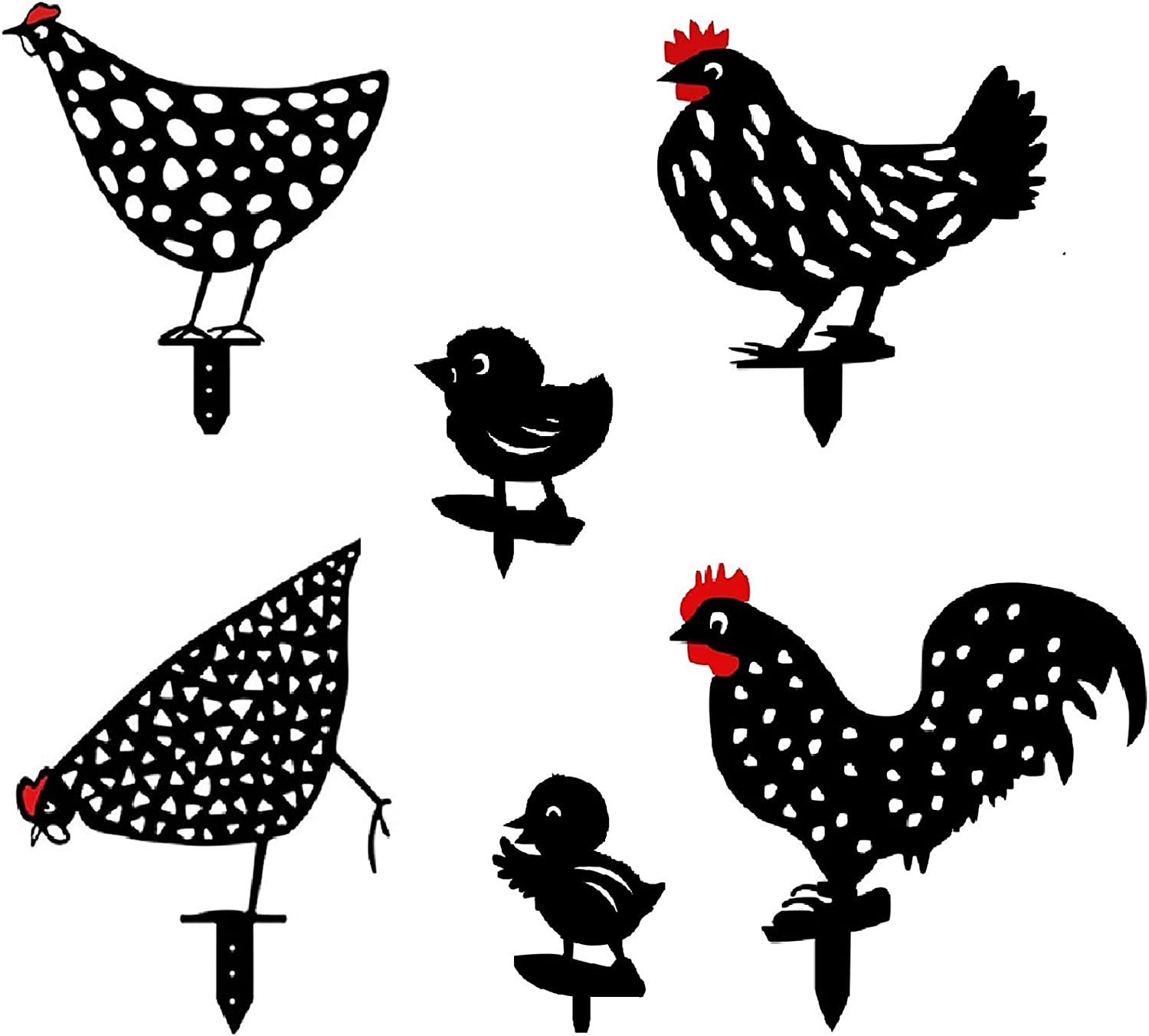 Ujuuu 6 PCS Chicken Silhouette Acrylic Garden Art Stake, Black Acrylic Rooster Hen Chick Animal Statue Insert Decoration for Garden Yard Lawn Decoration Outdoor Ornaments