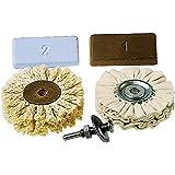 Wolfcraft 2179000 Set de polissage professionnel Pâtes à polir, axe pilote, brosse en fibre de sisal, disque de polissage en coton
