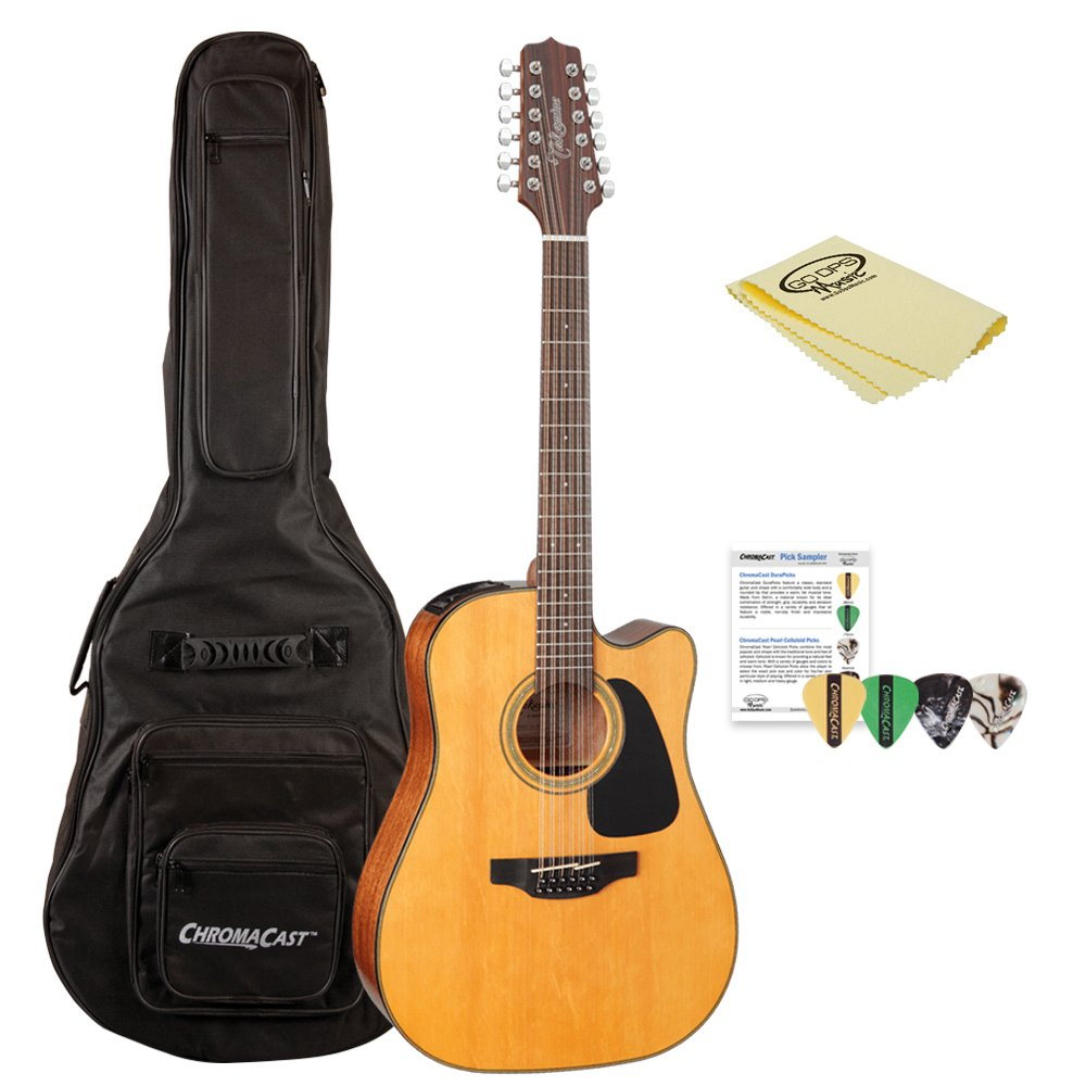 Takamine GD30CE-12 NAT-KIT-1 Dreadnought 12-String Cutaway Acoustic-Electric Guitar with Jumbo Gig Bag by Takamine