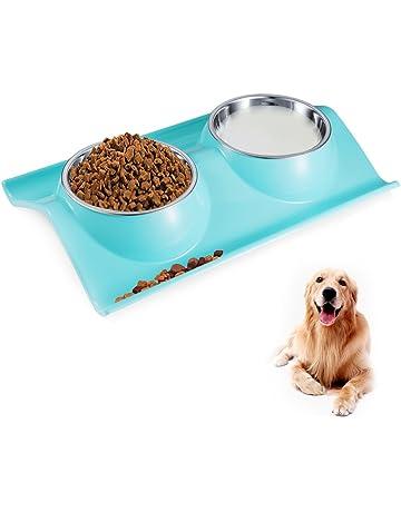 Petacc Tazón para Mascotas Antideslizante Cuencos para Perros Dobles Tazón en Forma de W Tazón de
