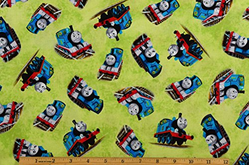 Thomas the Train Fabric Thomas Toss Fabric in Light Green 100% Cotton Fabric by the Yard