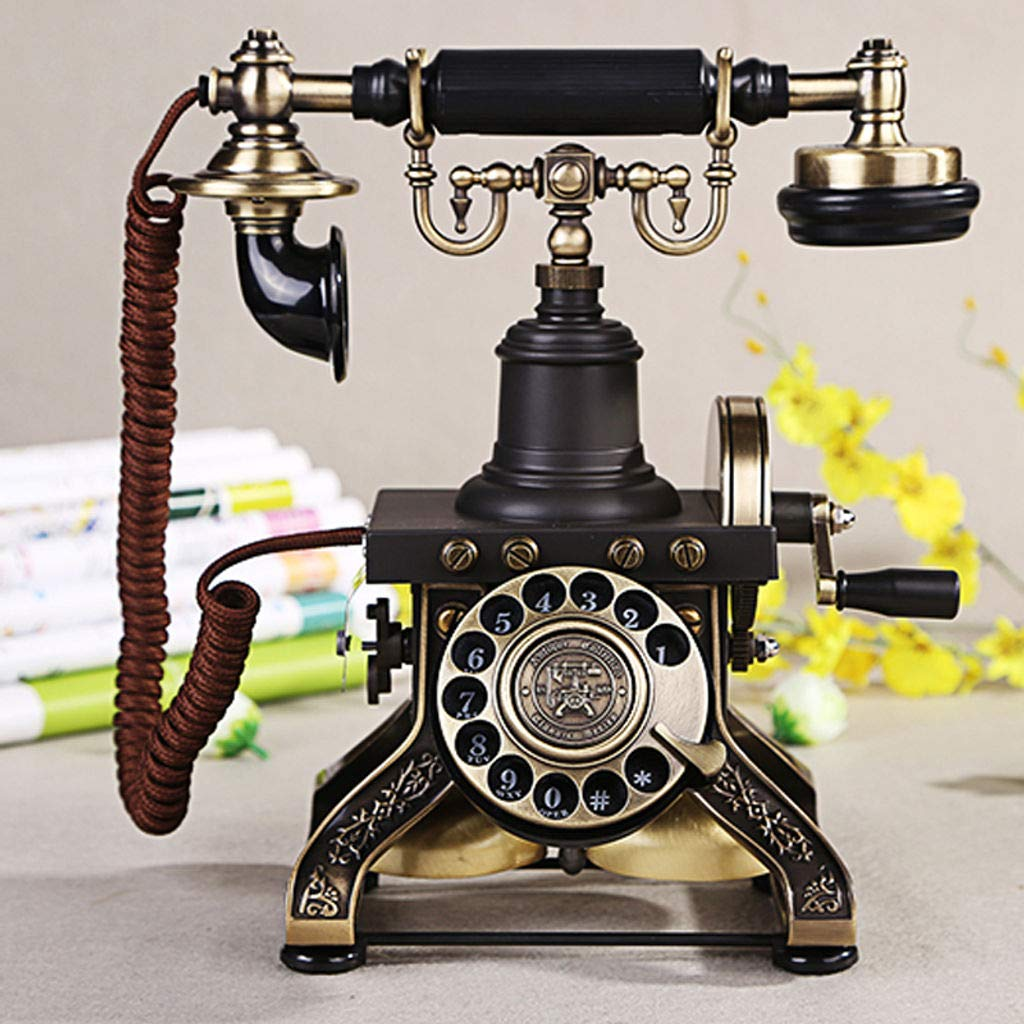 Bove Retro Telephone,Rotary Dial Fixed Digital Antique Telephone Handle Accessories Mechanical Ringer Decorative Telephones-A by Bove