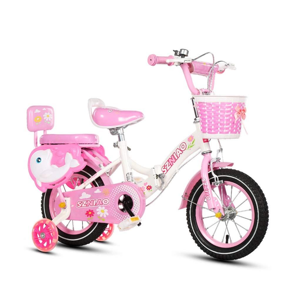 自転車、折り畳み式子供用自転車子供用スポーツ自転車2-8歳子供用バランス自転車屋外ポータブル自転車旅行折りたたみ式自転車 (Color : Pink, Size : 12in) 12in Pink B07J42K2H6
