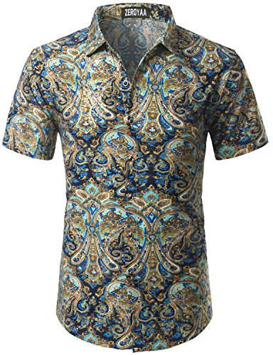 Golden Silk Cloth - Mens Hipster Golden Foil Print Slim Fit Short Sleeve Floral Shirt/Disco Perform Shirt Z35-826 Blue XX-Large