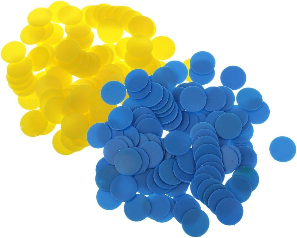 MagiDeal 200 pcs Chip Ficha de Conteo de Plástico Opaco Accesorios para Enseñanza de Aritmética / Juegos de Mesa - Azul, Amarillo: Amazon.es: Juguetes y juegos