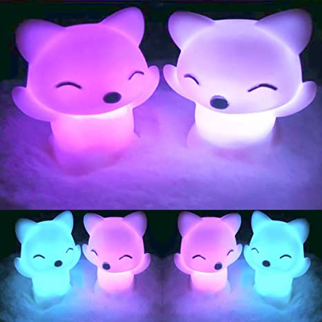Amazon Com 3pcs Lovely Fox Shaped Led Night Light Lamp Creative Novelty Children Kid Favor Gift Toy Cartoon Animal Fox Sleep Led Table Night Light 7 Color Changing Wedding Party Home Decor Home