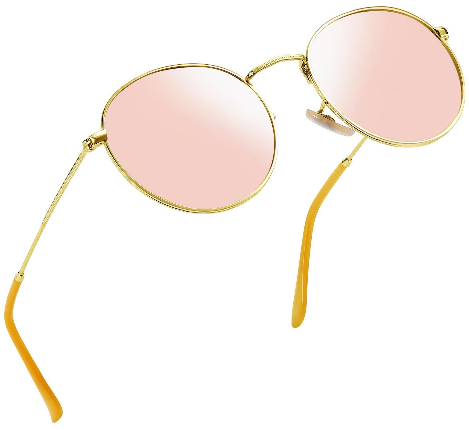 Joopin-Polarized Sunglasses Men Coating Lens Sun Glasses Women Vintage Round Sunglass Man (Pink)