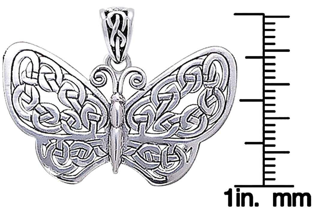 Jewelry Trends Sterling Silver Celtic Knot Butterfly Pendant Necklace 18