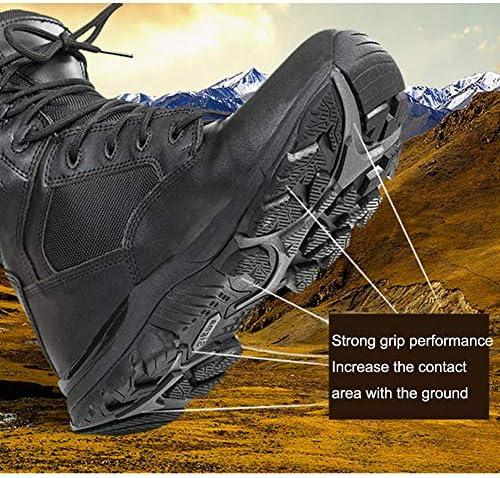 JIN Herren Wanderschuhe Militärische Taktische Stiefel Lässige Schnür-Sportstiefel Desert Shoes,Black-39