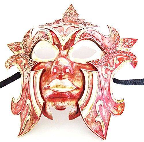 Gladiator Mask Red Halloween Mardi Gras Costume Masquerade New Orleans Prom Party