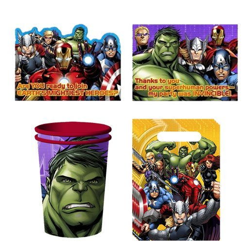Avengers Assemble Party Favor Pack Including Cups, Favor Bag, Invitation and Thank You Note for 8 (Avengers Party Favours)