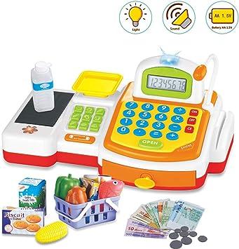deAO Caja Registradora Electrónica de Juguete con Micrófono, Cinta y Lector de Tarjetas Conjunto de Accesorios de Tienda y Supermercado Infantil Incluye Alimentos de Juguete (Amarilla): Amazon.es: Juguetes y juegos