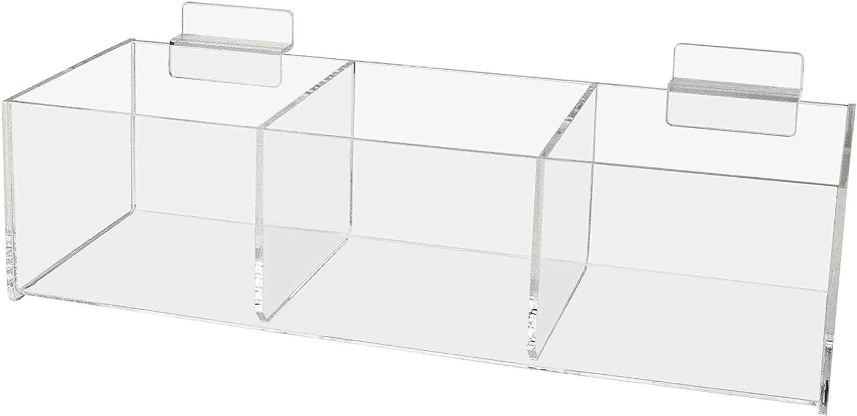 Marketing Holders Storage Bin Office Retail Rack Cubby Tray Clear Slot Food Tray (1, Slatwall 3 Pocket)